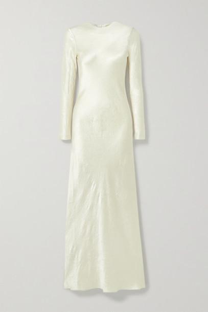 Co - Crinkled-satin Maxi Dress - Cream