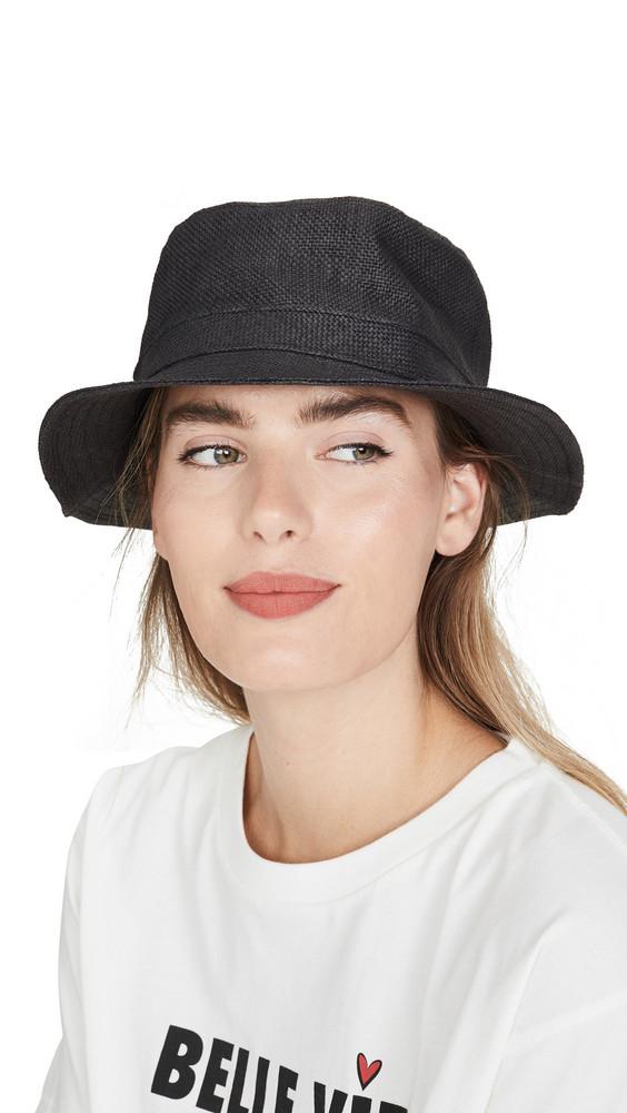 Brixton Hardy Straw Bucket Hat in black