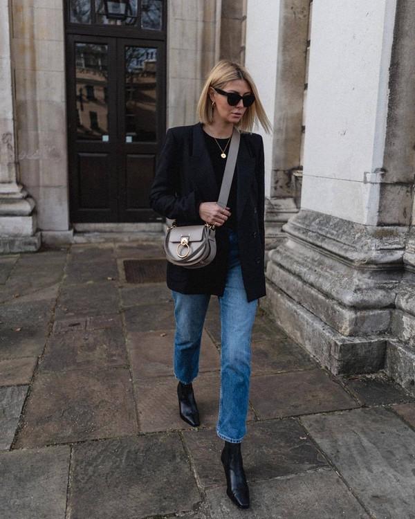 bag leather bag crossbody bag black boots straight jeans black blazer double breasted black top black sunglasses