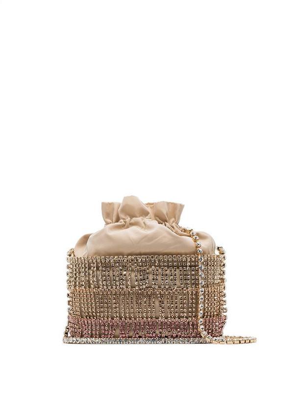 Rosantica Ginger caged crystal-embellished shoulder bag in gold