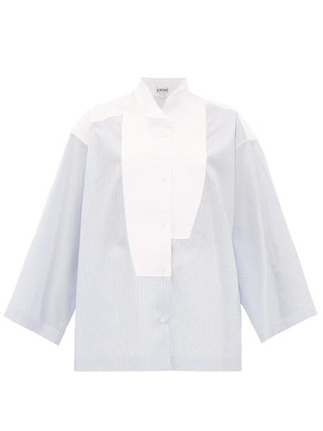 Loewe - Oversized Striped Cotton-poplin Shirt - Womens - Light Blue