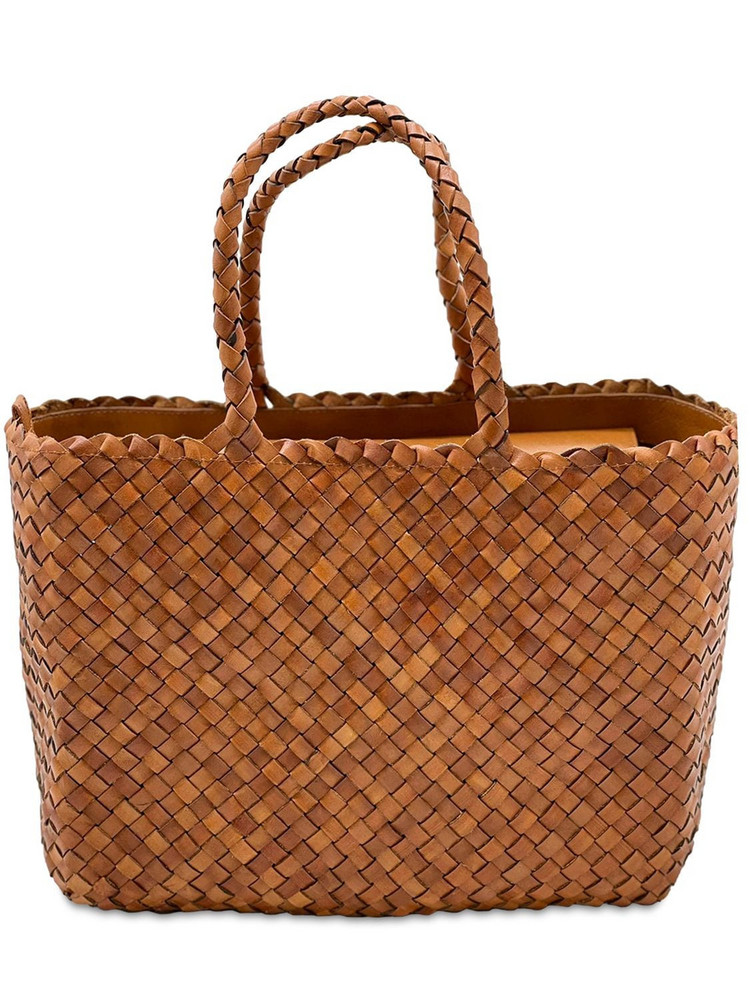 DRAGON DIFFUSION Big Lunch Basket Leather Shoulder Bag in tan