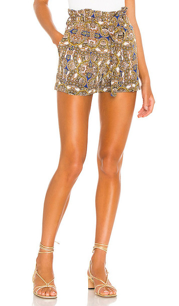 L'AGENCE Alex Paperbag Shorts in Brown in yellow