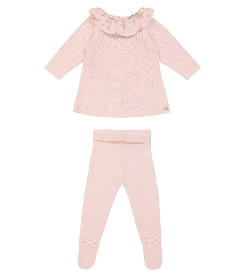 Tartine et Chocolat Baby cotton-blend dress and leggings set in pink