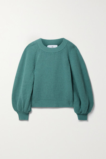 I Love Mr Mittens - Ribbed Wool And Cashmere-blend Sweater - Emerald
