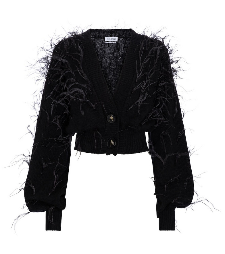 The Attico Feather-trimmed wool cardigan in black
