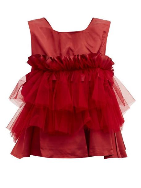 Noir Kei Ninomiya - Ruffled Mesh-trimmed Top - Womens - Red