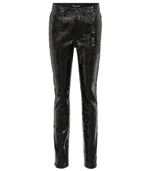 Saint Laurent Sequinned cotton-blend pants in black