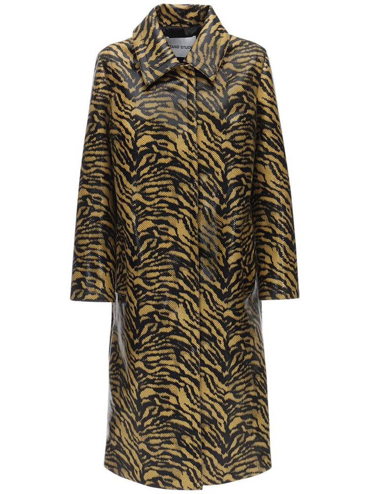 STAND Elyssa Printed Faux Leather Trench Coat in brown / yellow