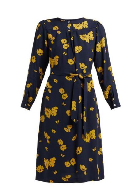 A.P.C. A.p.c. - June Floral Print Crepe Dress - Womens - Navy Multi