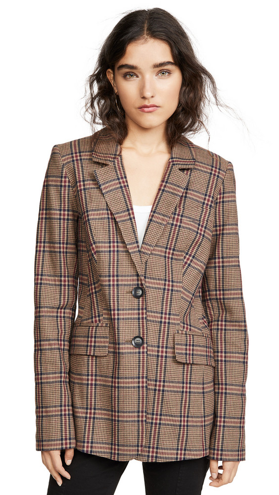 Marissa Webb Olson Plaid Blazer in brown
