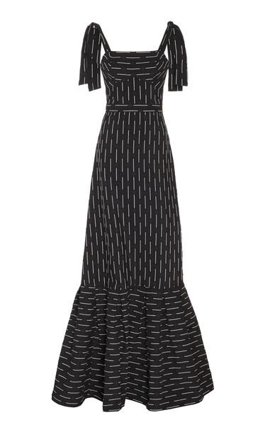 Alexis Symphony Tie-Shoulder Flared-Hem Maxi Dress Size: XS in black