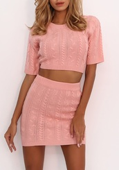 dress,girly,girl,girly wishlist,two-piece,two piece dress set,pink,cropped,crop,crop tops,skirt,knitwear,knit
