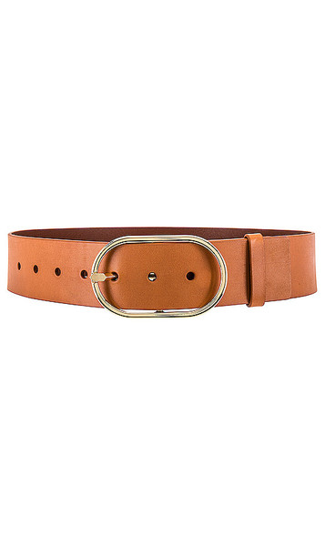 FRAME Grand Oval Buckle Belt in Brown in natural