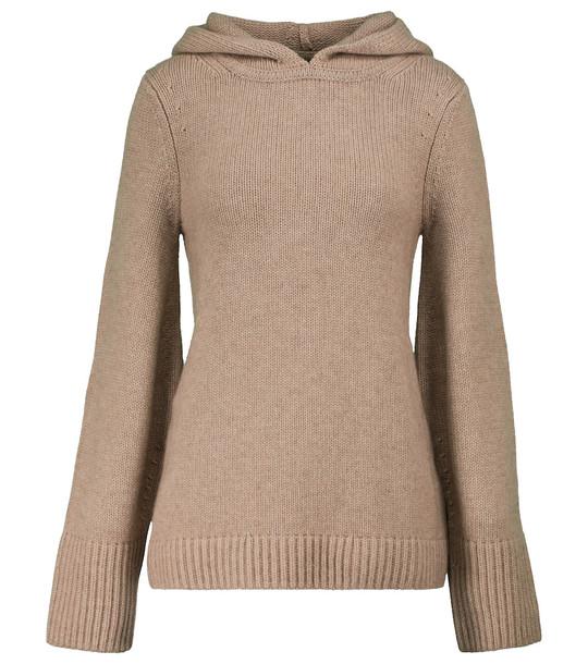 KHAITE Elodie cashmere hoodie in brown