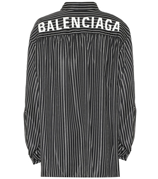 Balenciaga Scarf striped shirt in black