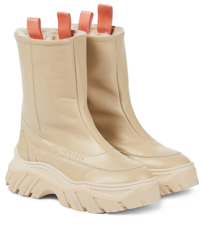INUIKII Shearling-lined leather boots in beige