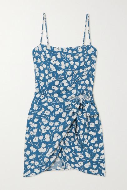 Reformation - Canal Wrap-effect Floral-print Crepe Mini Dress - Blue