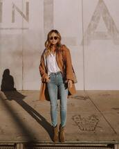 coat,brown coat,ankle boots,high waisted jeans,skinny jeans,shirt,gucci bag