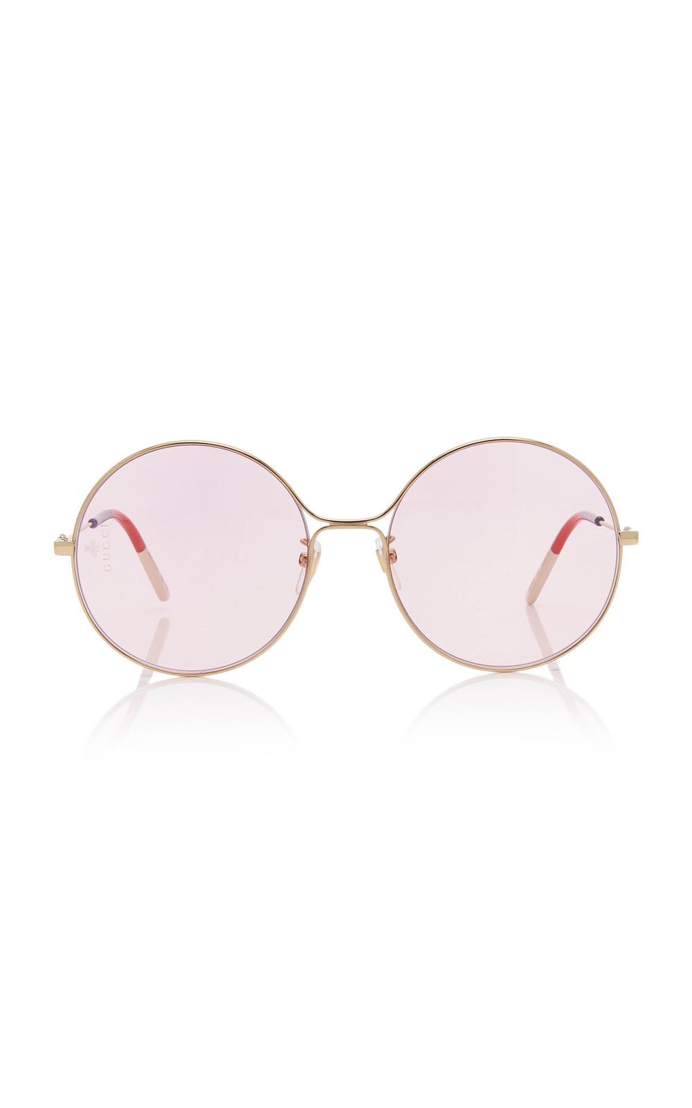 Gucci Sunglasses Glasant Oversized Metal Round Sunglasses in pink