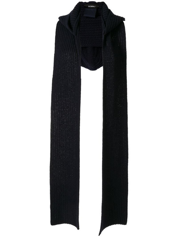 Goen.J hooded ribbed-knit scarf in blue