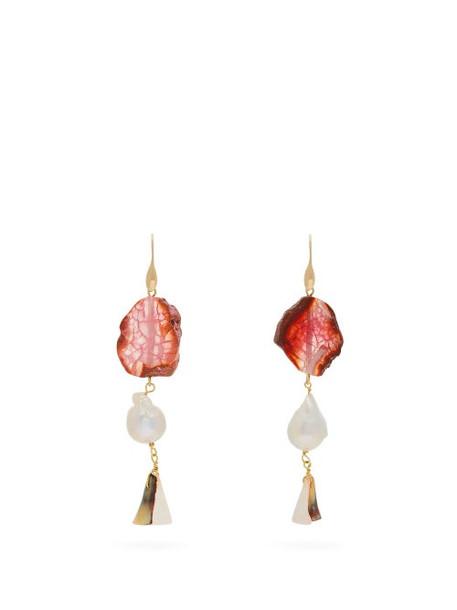 Carolina Herrera - Stone & Pearl Drop Earrings - Womens - Orange