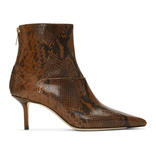 Jimmy Choo Brown Snake Beyla 65 Boots