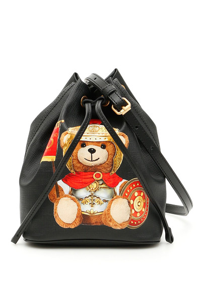 Moschino Roman Teddy Bear Bucket Bag in black