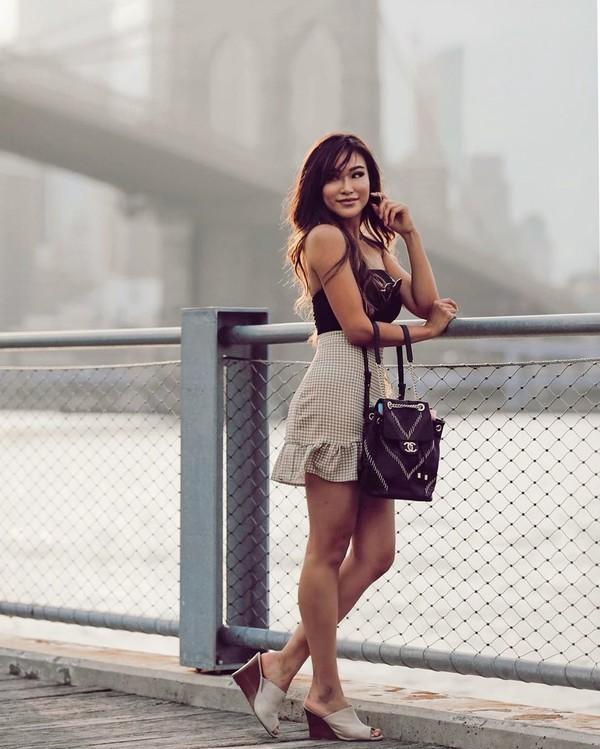 skirt mini skirt sandal heels chanel bag black top
