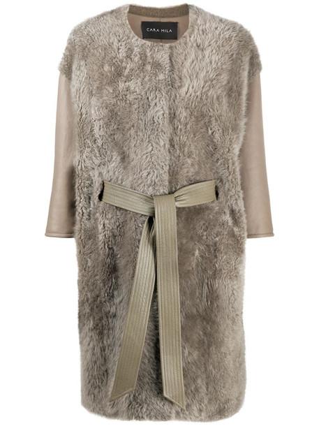 Cara Mila Hennie teddy coat in grey