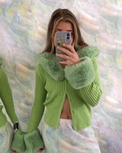 cardigan,emma chamberlain,green,trendy,flashes of style,fashion