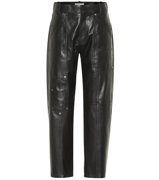Chloé High-rise cropped leather pants in black