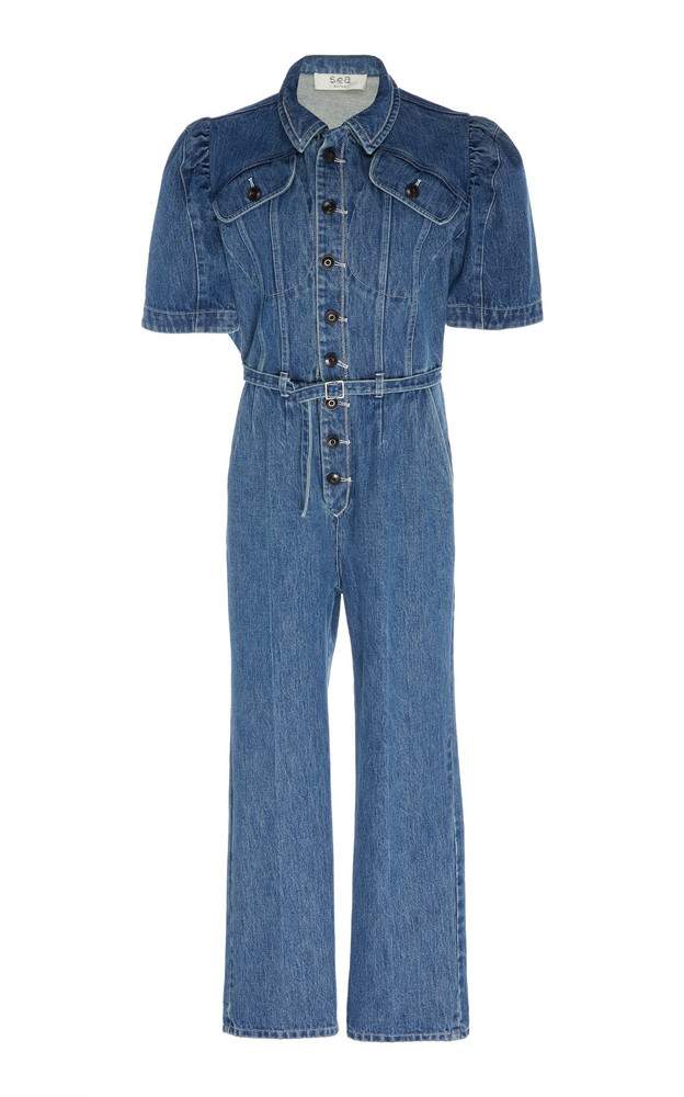 Sea Belted Denim Jumpsuit Size: 2 in blue