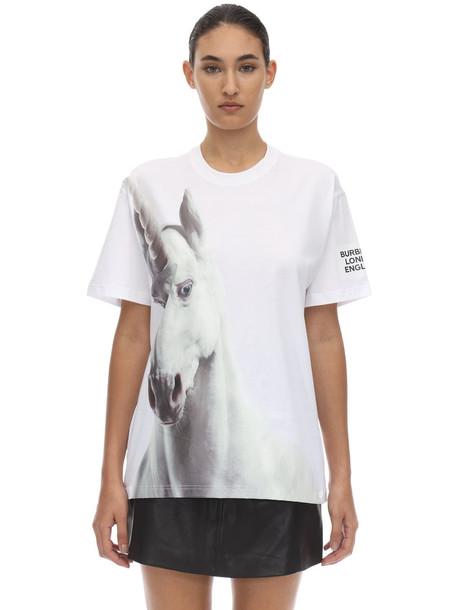 BURBERRY Unicorn Print Cotton Jersey T-shirt in white
