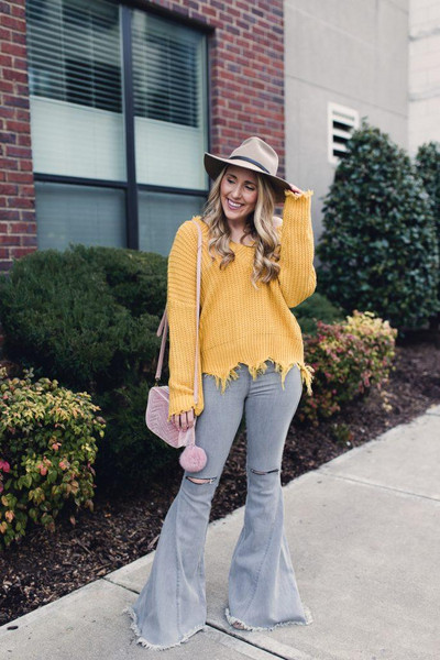 pearls&twirl blogger sweater hat flare jeans yellow sweater winter outfits spring outfits
