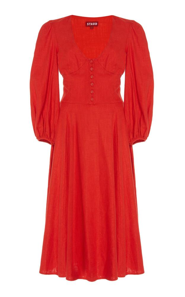 Staud Birdie Linen-Blend Jersey Midi Dress in red