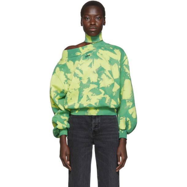 Off-White Green Tie-Dye Trashed Sweatshirt
