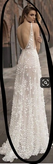dress,see through dress,off-white,lace dress,wedding dress,vneck dress,open back,embroidered,flowers