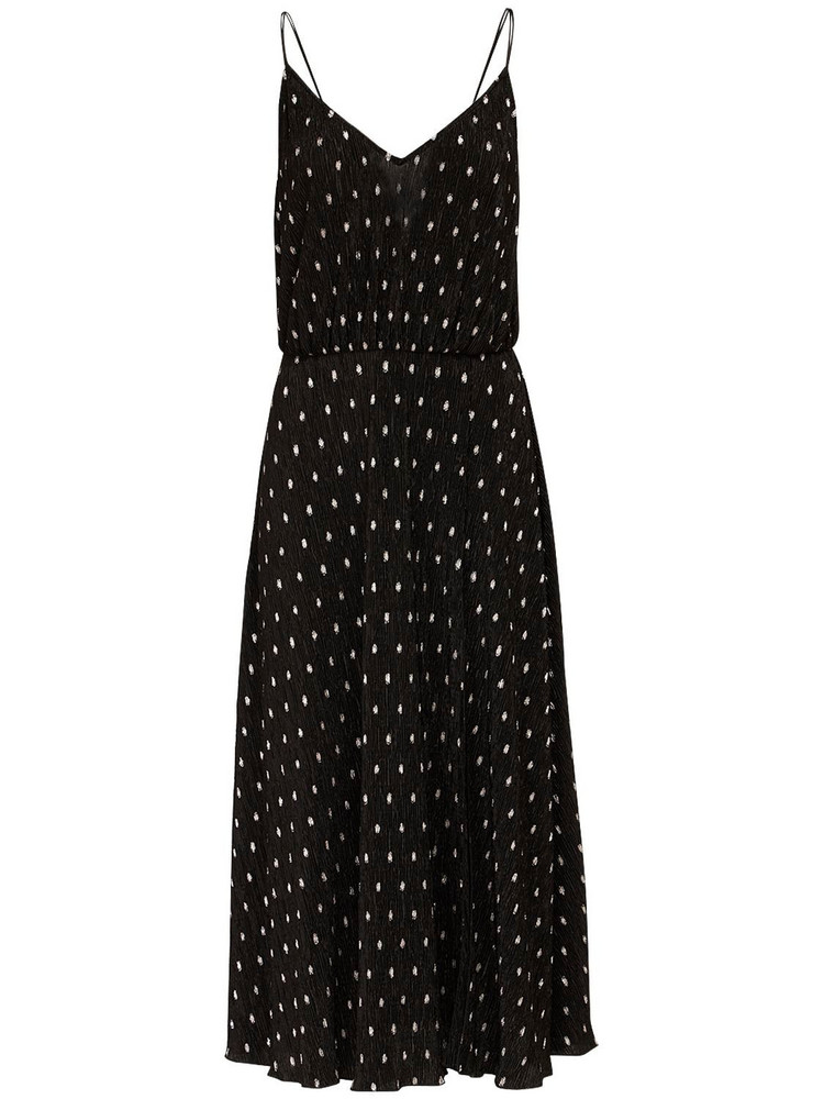 ROTATE Ofelia Polka Dots Midi Dress in black
