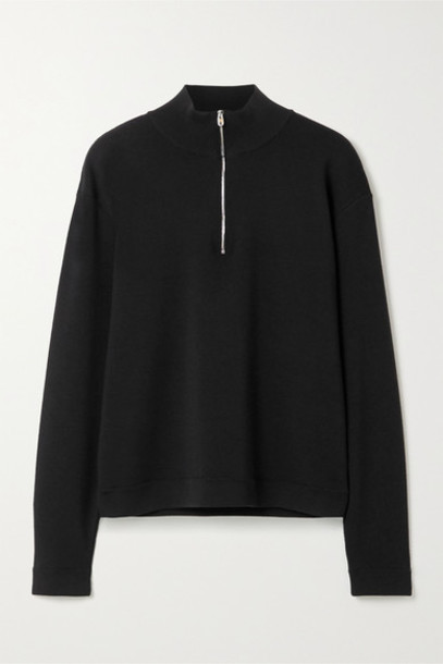 The Row - Molly Ribbed Merino Wool And Cashmere-blend Sweater - Black
