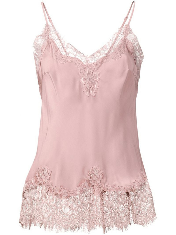 Gold Hawk lace panel top in pink