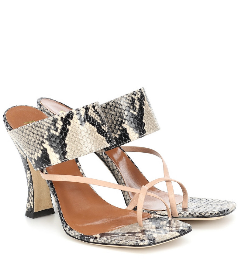 Paris Texas Snake-effect-leather sandals in beige