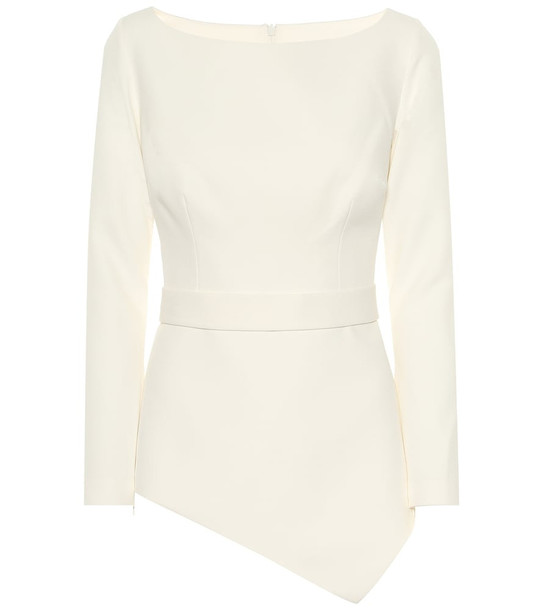 Safiyaa Romola asymmetric crêpe blouse in white