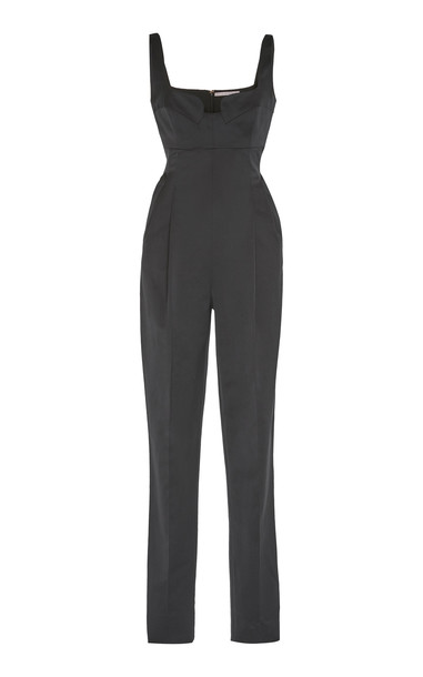 Emilia Wickstead Beverly Full Length Cotton Blend Jumpsuit in black