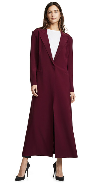 Norma Kamali Single Breasted Coat in plum