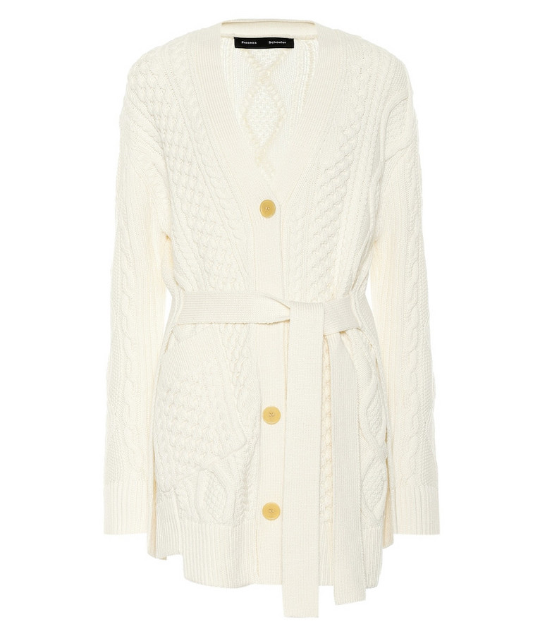 Proenza Schouler Cable-knit wool cardigan in white