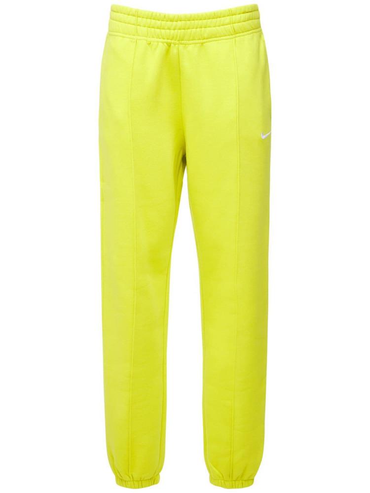 NIKE Cotton Fleece Sweatpants in yellow