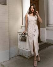 dress,midi dress,leather dress,slit dress,sandals,handbag,pvc,black bag