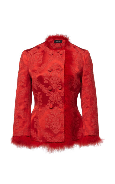 Simone Rocha Double Breasted Marabou Suiting Jacket in red