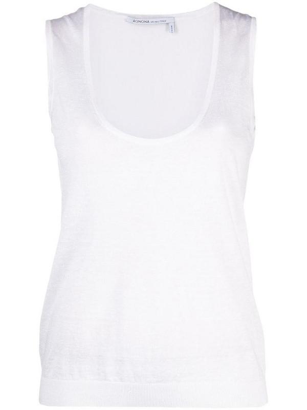 Agnona scoop-neck tank top in white